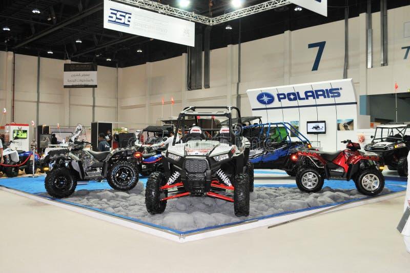 Polaris Desert Vehicles at Abu Dhabi International Hunting and Equestrian Exhibition (ADIHEX). Display of Polaris desert vehicles at Abu Dhabi International royalty free stock image