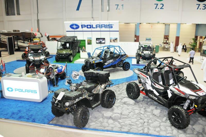 Polaris Desert Vehicles at Abu Dhabi International Hunting and Equestrian Exhibition (ADIHEX). Display of Polaris desert vehicles at Abu Dhabi International royalty free stock photography
