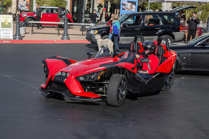 Polaris Slingshot. Blackhawk Cars and Coffee Car Show in Danville Ca all Photos taken by Luigi Dionisio Feb 1 2015 royalty free stock photos