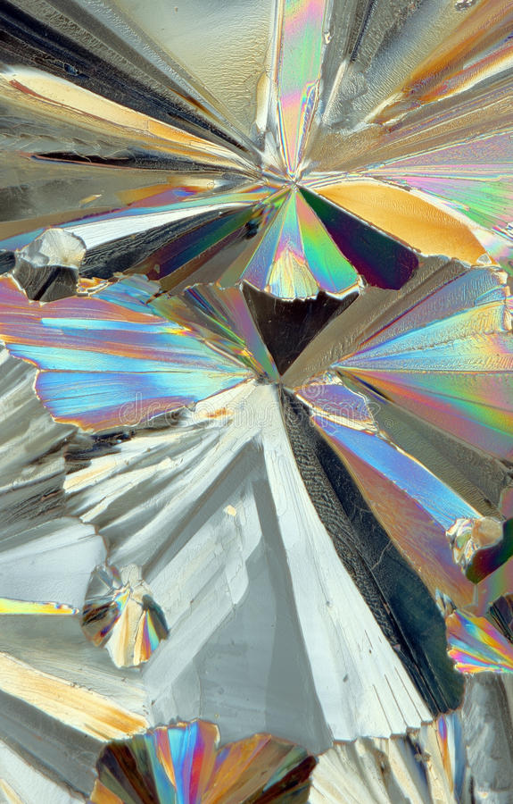 Polarisiertes Licht auf Kristallen stockfotos