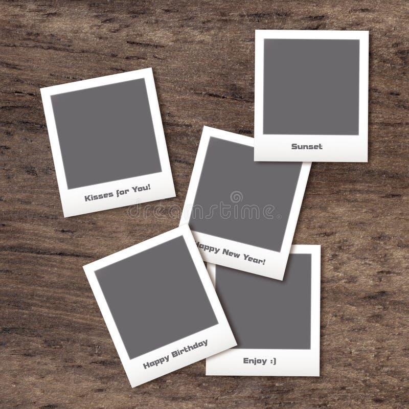 Polaroïd avec cinq images images libres de droits