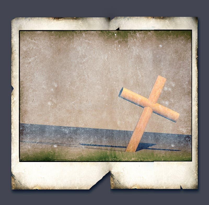 Polaroïd avec la croix sainte illustration libre de droits