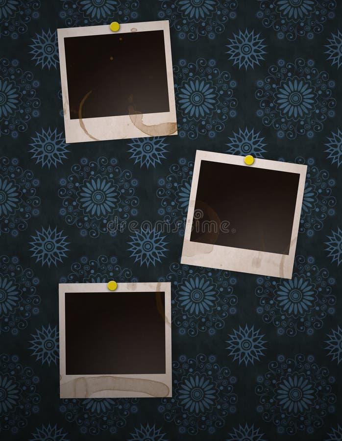 Polaroïds sur le rétro mur illustration de vecteur