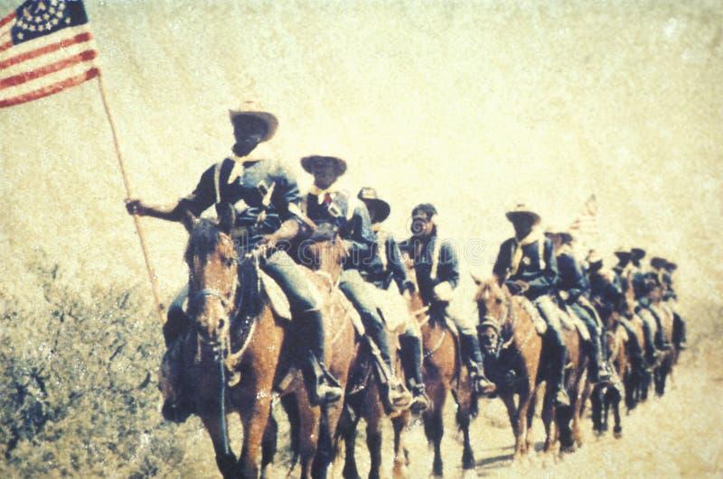 Polaroidübertragung von Soldaten im Kampf während der Bürgerkrieg-Wiederinkraftsetzung des Kampfes des Stierlaufs, Virginia stockbild