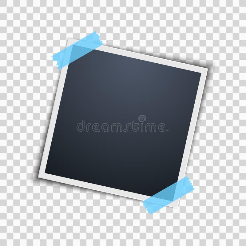 Polaroid σε ένα διαφανές υπόβαθρο διαμορφωμένη φωτογραφία τρυπών πλαισίων ανασκόπησης όμορφη μαύρη kpugloe Μπλε κολλητική ταινία  απεικόνιση αποθεμάτων