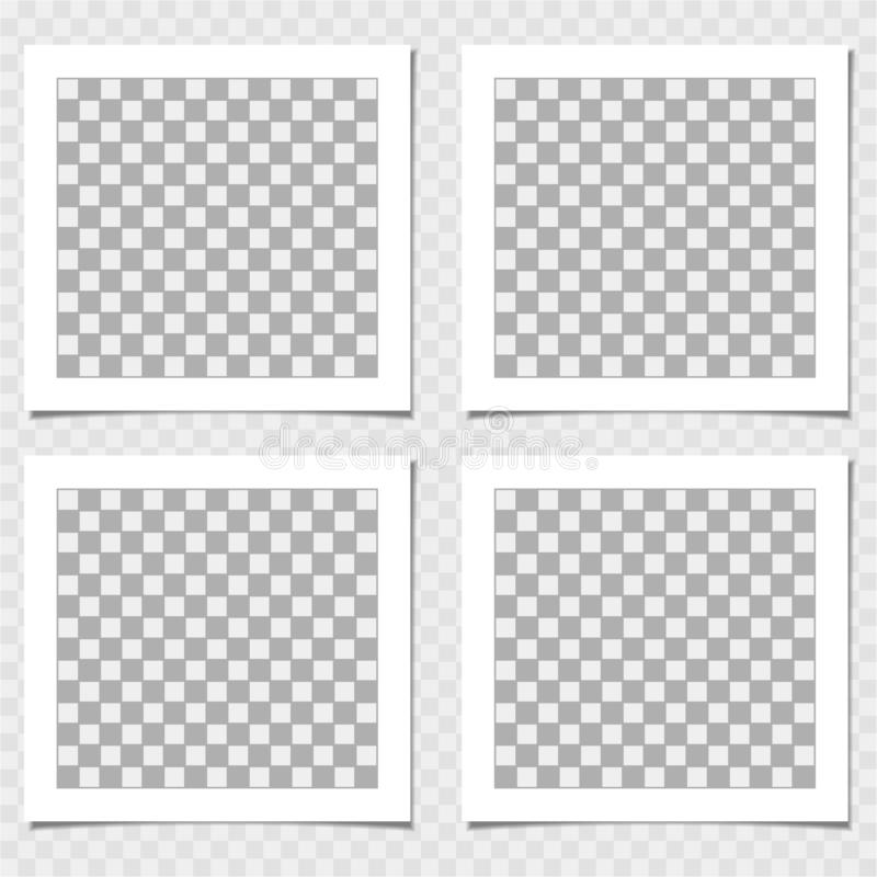 Polaroid, συλλογή του πλαισίου φωτογραφιών Διανυσματικό πρότυπο για την καθιερώνουσα τη μόδα φωτογραφία ή την εικόνα σας ελεύθερη απεικόνιση δικαιώματος
