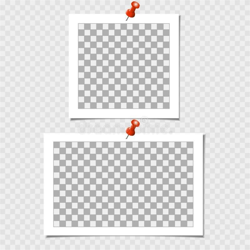 Polaroid, συλλογή του πλαισίου φωτογραφιών με την καρφίτσα Διανυσματικό πρότυπο για την καθιερώνουσα τη μόδα φωτογραφία ή την εικ διανυσματική απεικόνιση