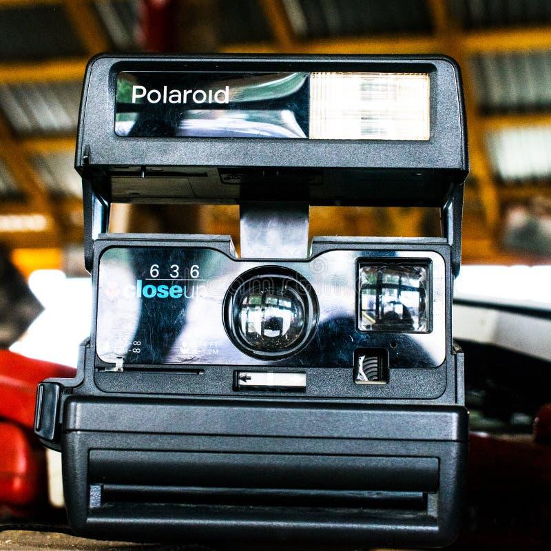 Polaroid camera black. old Polaroid camera. Polaroid camera. Closeup of old Polaroid 635CL camera royalty free stock photography