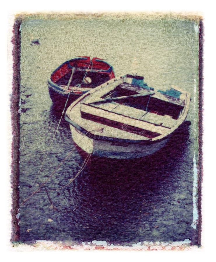 Polaroid del harpour del mare delle barche fotografia stock