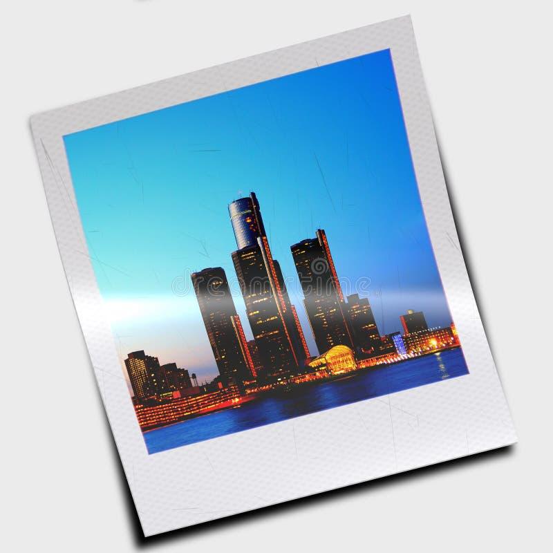 Polaroid- dia van wolkenkrabbers vector illustratie