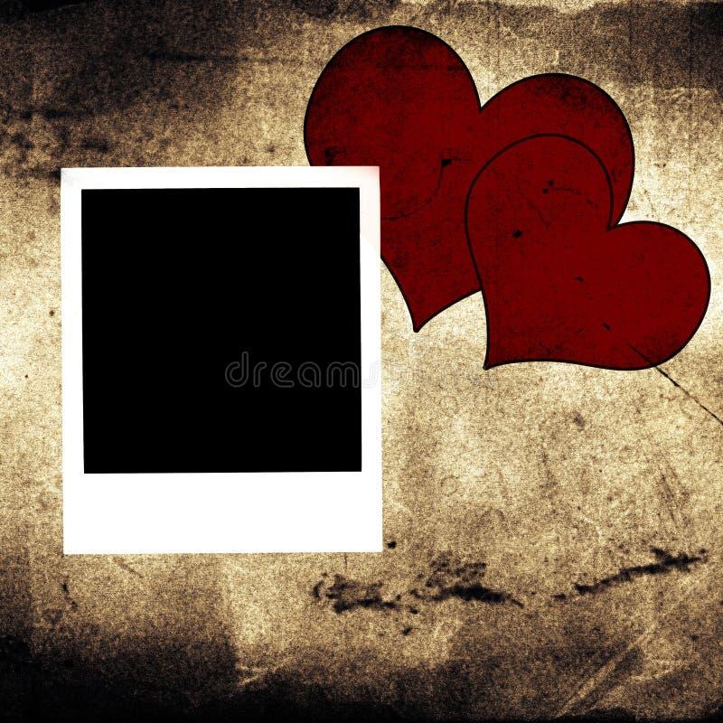Polaroid e dois corações fotos de stock royalty free