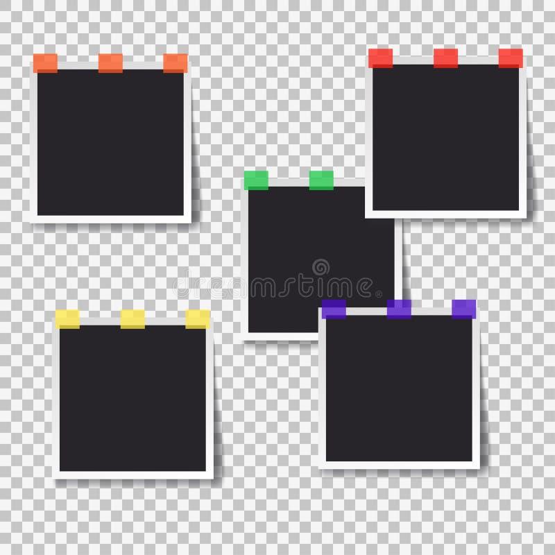 Polaroid fotografii czarny pusty set, kolor taśma ilustracji