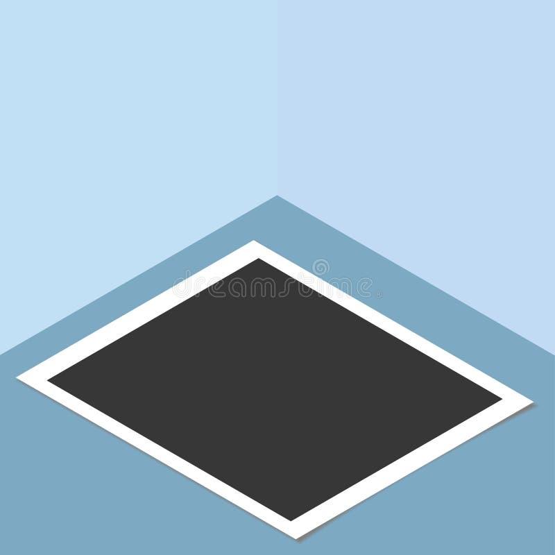 Polaroid fotografii rama na desktop, worktable Wektorowy szablon dla twój modnego wizerunku lub fotografii ilustracji
