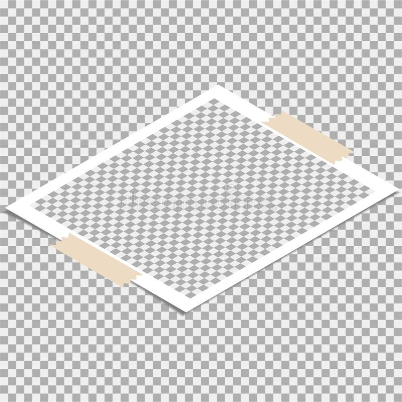 Polaroid fotografii rama z adhezyjną taśmą Wektorowy szablon dla twój modnego wizerunku lub fotografii royalty ilustracja