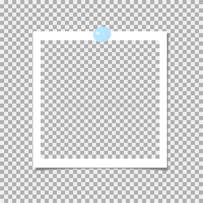 Polaroid fotografii rama z błękit szpilką rabatowy bobek opuszczać dębowego faborków szablonu wektor ilustracji