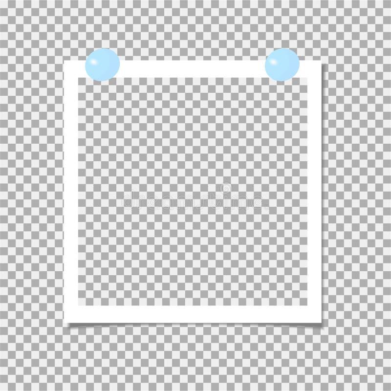 Polaroid fotografii rama z błękit szpilką szablon również zwrócić corel ilustracji wektora ilustracja wektor