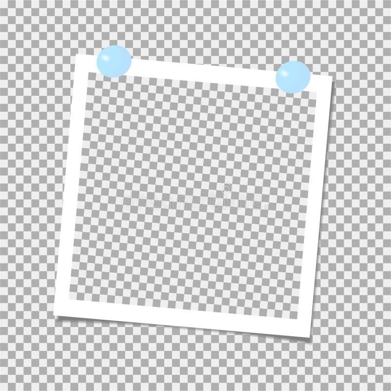 Polaroid fotografii rama z błękit szpilką szablon również zwrócić corel ilustracji wektora ilustracji