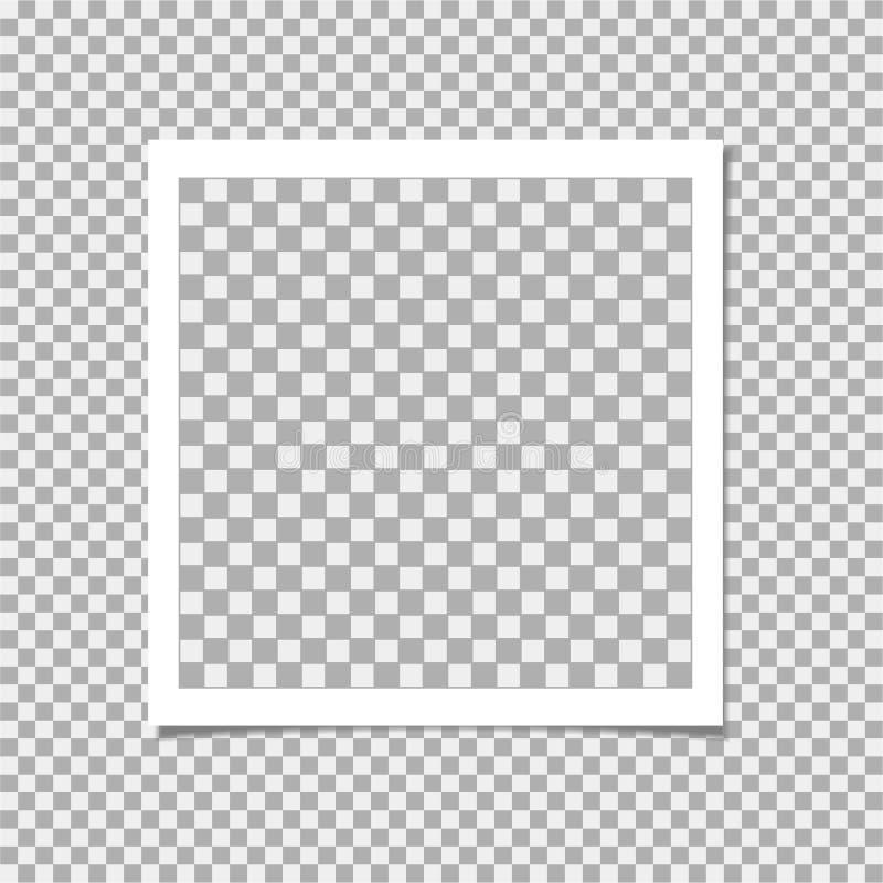 Polaroid fotografii rama z cieniem dalej odizolowywa tło Wektorowy szablon dla twój modnego wizerunku lub fotografii ilustracji