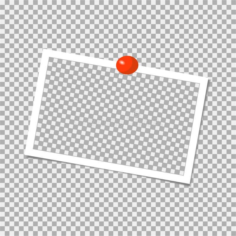 Polaroid fotografii rama z czerwieni szpilką szablon również zwrócić corel ilustracji wektora royalty ilustracja