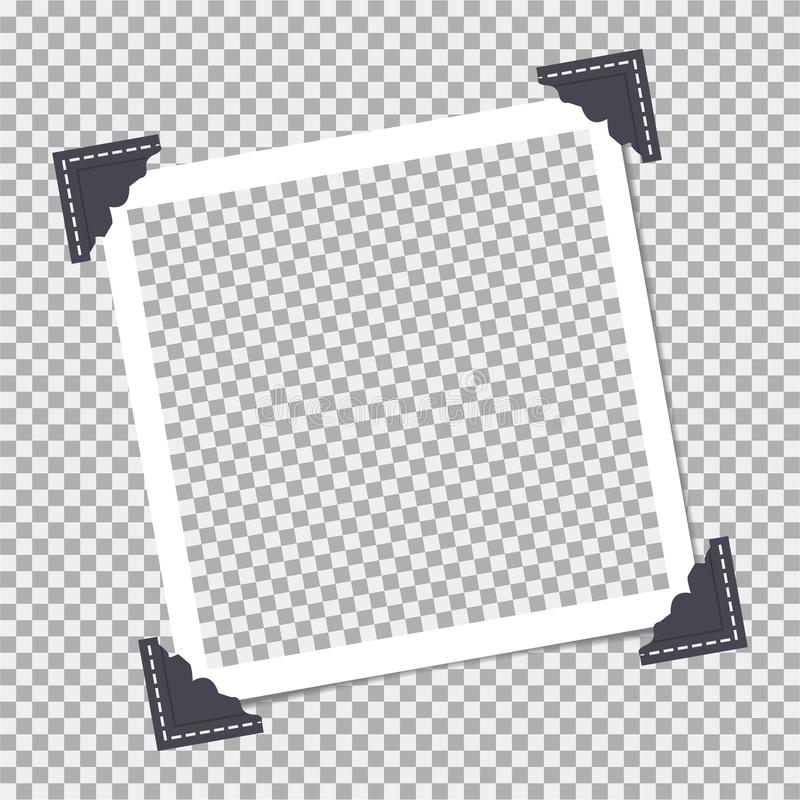 Polaroid, fotografii rama z kątem, kąt dalej odizolowywa tło Szablon, puste miejsce dla twój modnej fotografii ilustracja wektor
