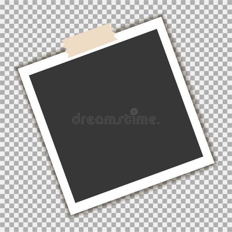 Polaroid fotografii rama z kleistą taśmą na szarym tle Szablon, puste miejsce dla twój modnej fotografii royalty ilustracja