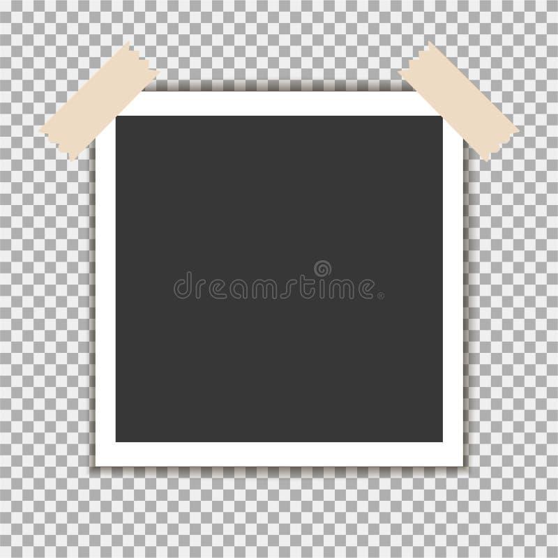 Polaroid fotografii rama z kleistą taśmą na szarym tle Szablon, puste miejsce dla twój modnej fotografii ilustracja wektor
