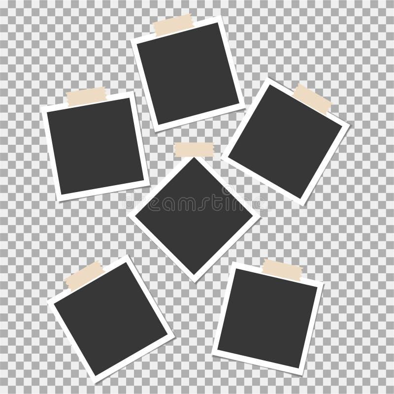 Polaroid fotografii rama z kleistą taśmą na szarym tle Szablon, puste miejsce dla twój modnej fotografii ilustracji