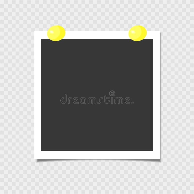 Polaroid fotografii rama z kolor żółty szpilką szablon również zwrócić corel ilustracji wektora ilustracji