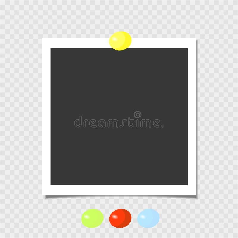 Polaroid fotografii rama z kolor żółty szpilką szablon również zwrócić corel ilustracji wektora royalty ilustracja