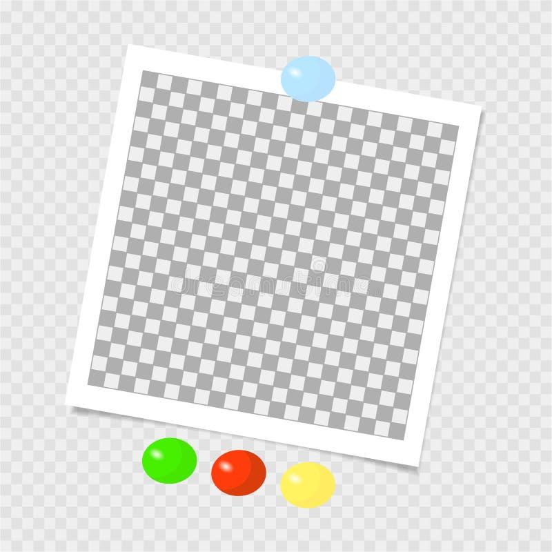 polaroid Fotografii rama z kolor szpilkami szablon również zwrócić corel ilustracji wektora ilustracji