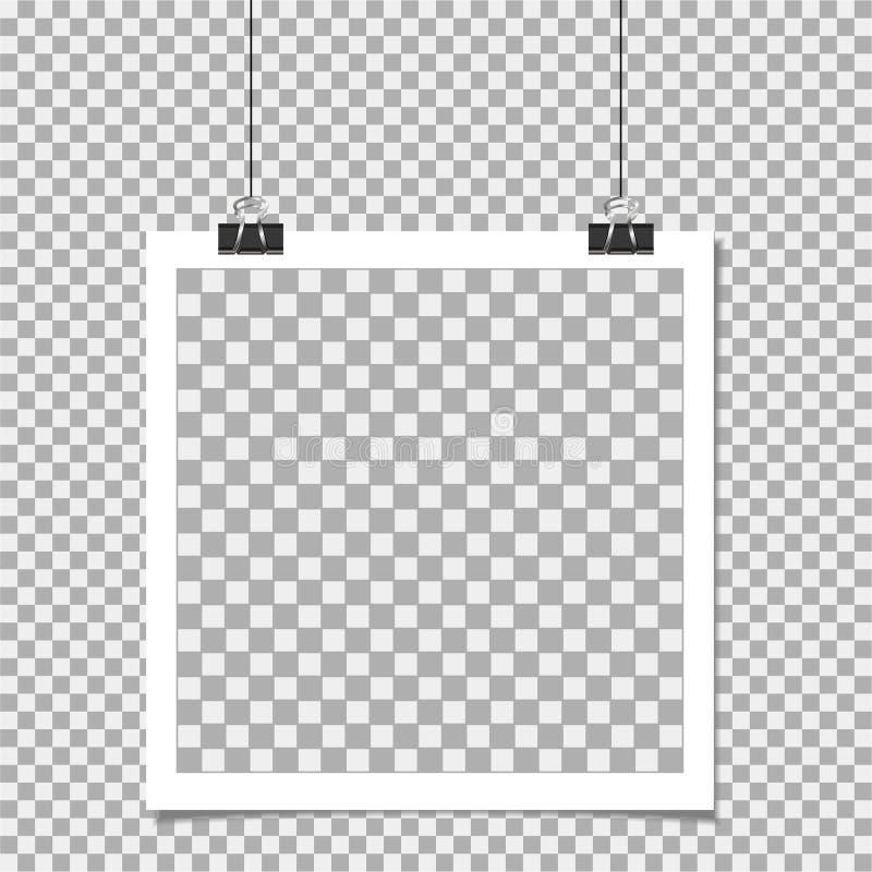 Polaroid, fotografii rama z szpilką dalej odizolowywa tło Szablon, puste miejsce dla fotografii lub wizerunek, ilustracja wektor