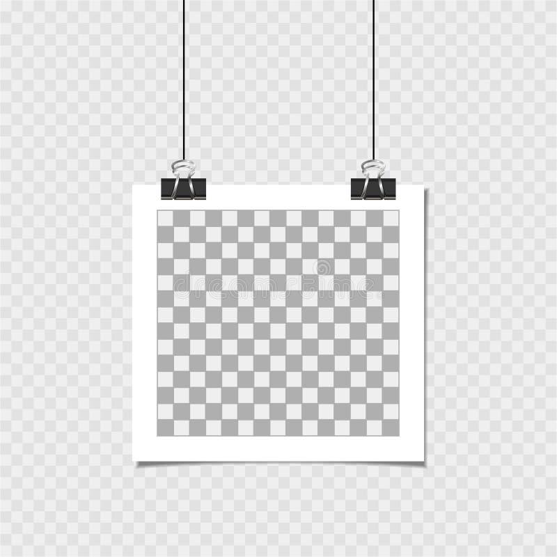 Polaroid, fotografii rama z szpilką Wektorowy szablon dla twój modnego wizerunku lub fotografii ilustracji