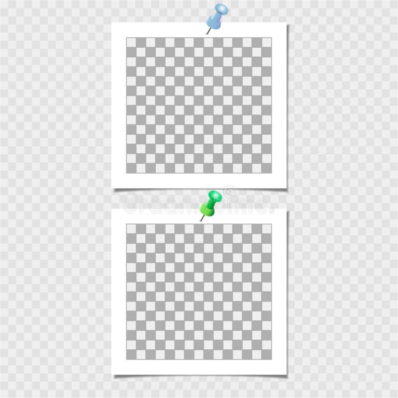 Polaroid, fotografii rama z szpilką Wektorowy szablon dla twój modnego wizerunku lub fotografii ilustracja wektor