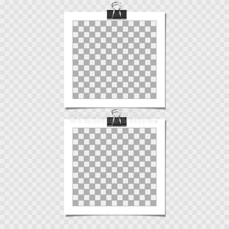 Polaroid, fotografii rama z szpilką Wektorowy szablon dla twój modnego wizerunku lub fotografii royalty ilustracja