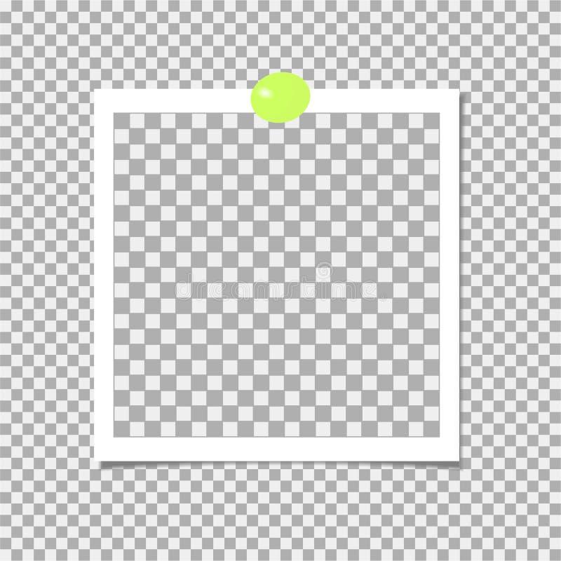 Polaroid fotografii rama z zieleni szpilką szablon również zwrócić corel ilustracji wektora royalty ilustracja