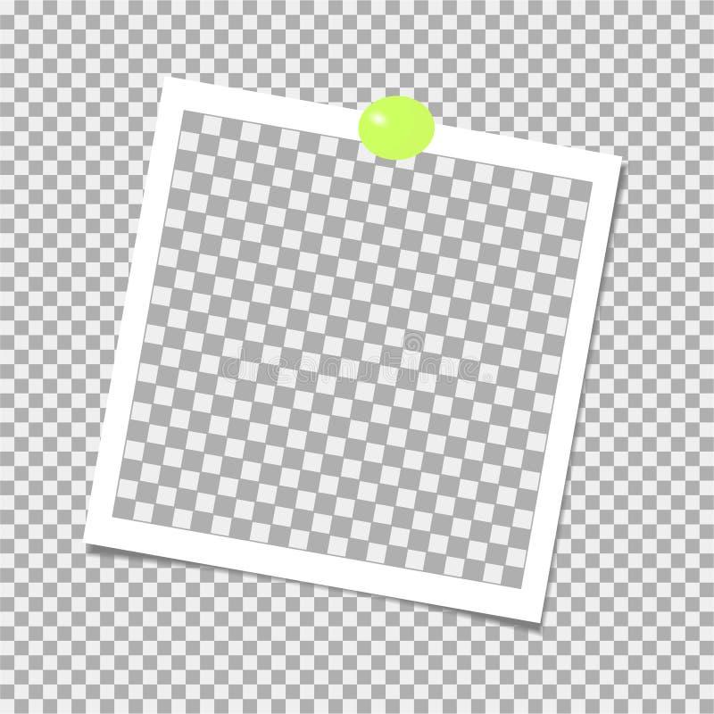 Polaroid fotografii rama z zieleni szpilką szablon również zwrócić corel ilustracji wektora ilustracji