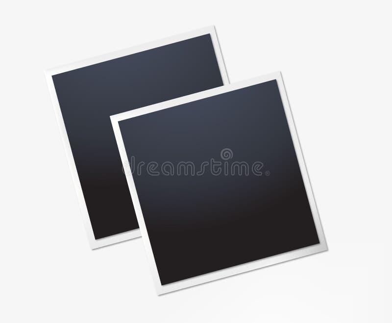 Polaroid- fotokader Witte plastic grens op een transparante achtergrond Vector illustratie royalty-vrije illustratie