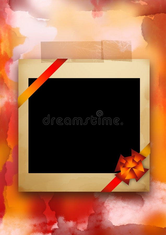 Polaroid Frame Wrapped In A Gift Bow at Christmas royalty free stock photos