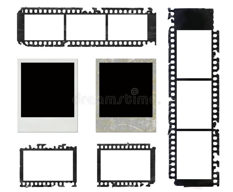 Polaroid- frames en grunge negatieve filmreeks vector illustratie