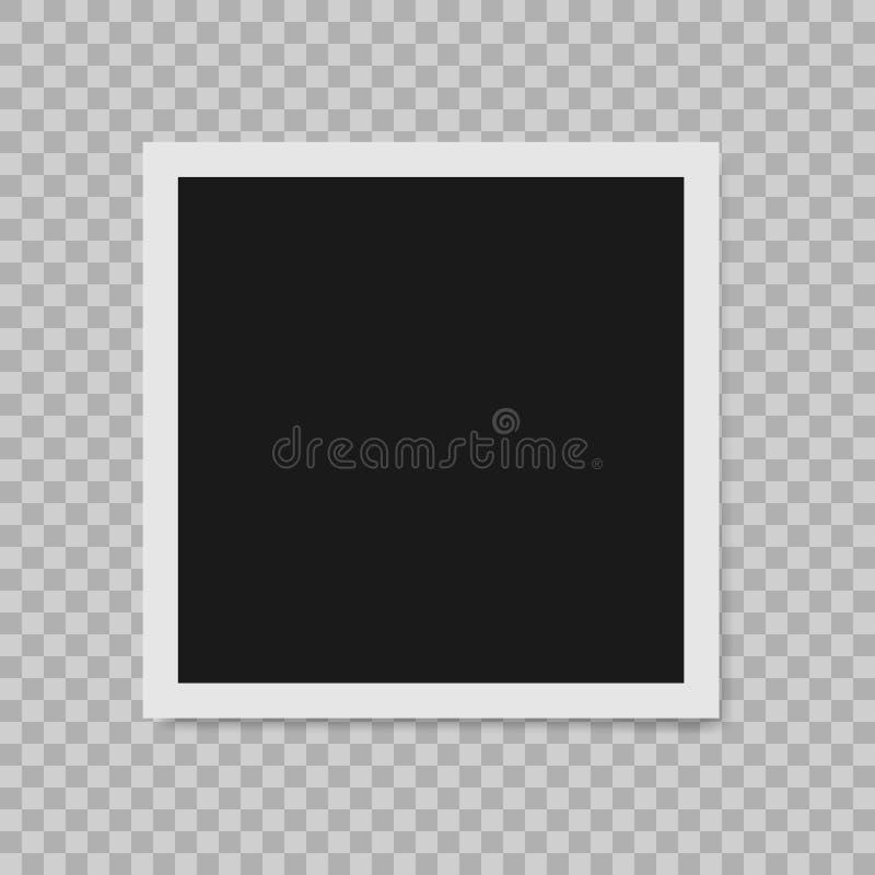 Polaroid granicy fotografii pusta realistyczna rama z przejrzystym cieniem na szkockiej kraty czerni bielu tle ilustracja wektor
