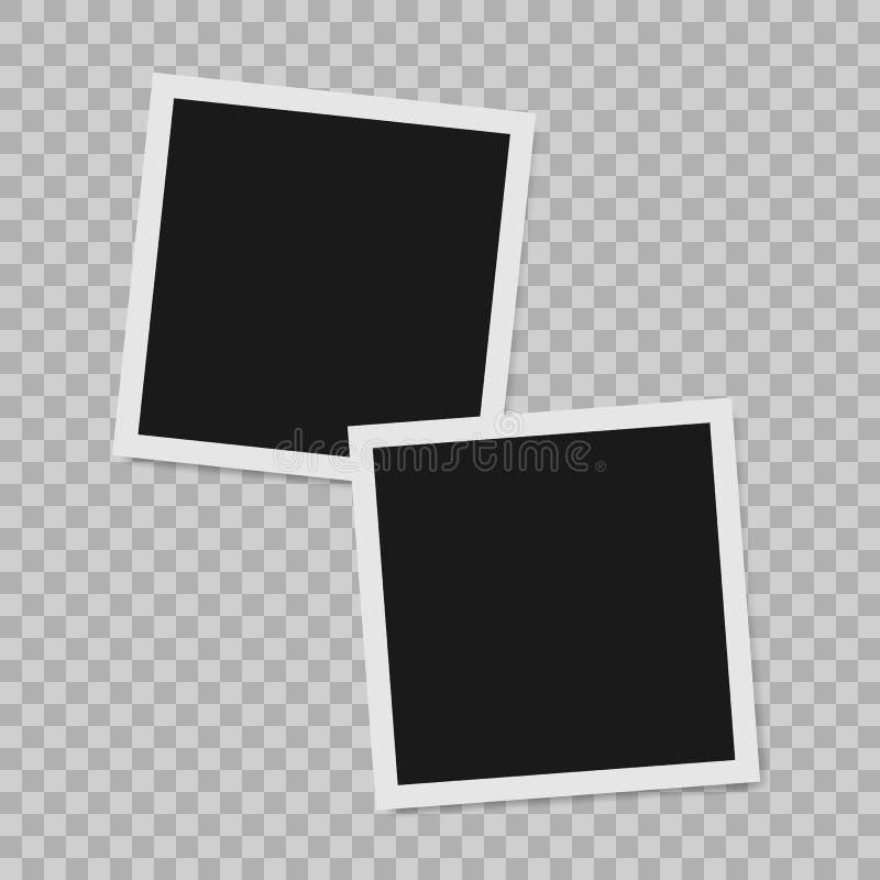 Polaroid granicy fotografii pusta realistyczna rama z przejrzystym cieniem na szkockiej kraty czerni bielu tle royalty ilustracja
