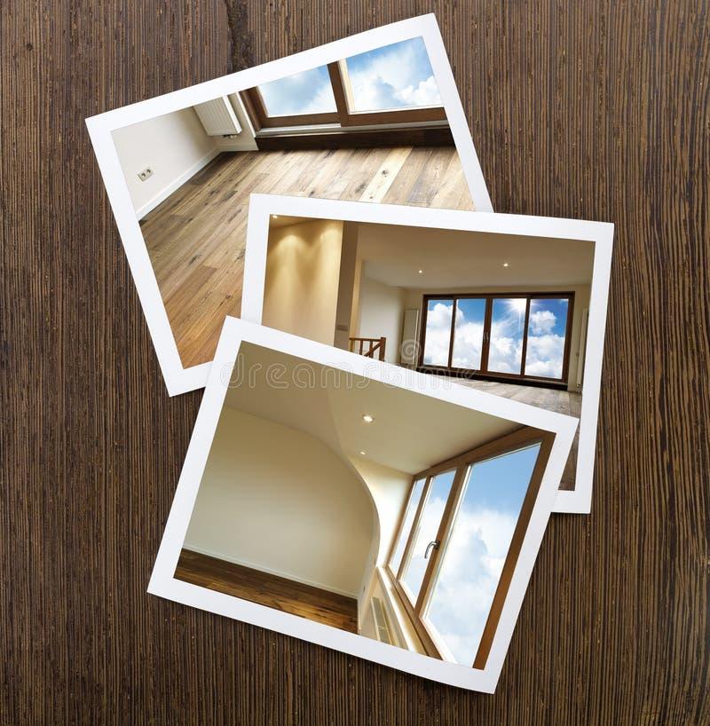 Polaroid--houten Vloer En Vensters Stock Fotografie