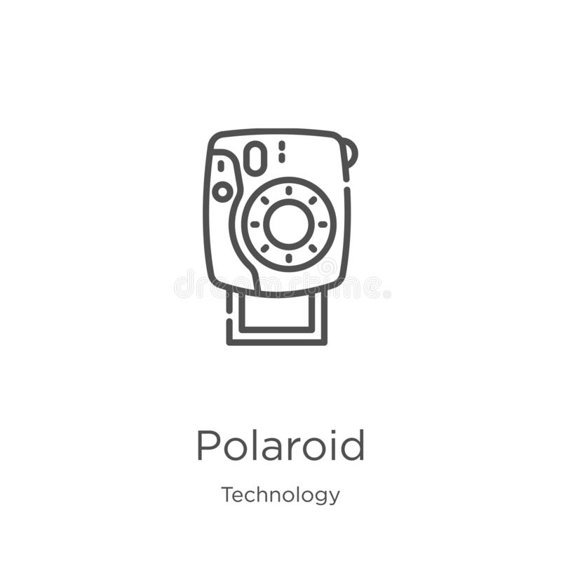 Polaroid icon vector from technology collection. Thin line polaroid outline icon vector illustration. Outline, thin line polaroid. Polaroid icon. Element of stock illustration