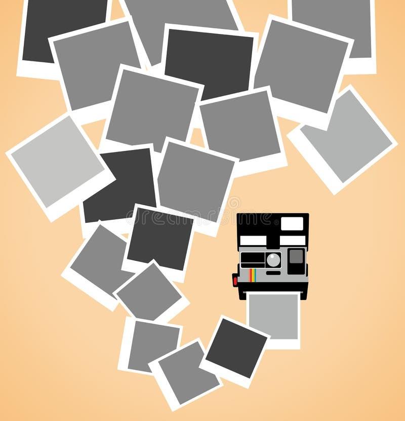 Polaroid- kamera för tappning med bilder stock illustrationer