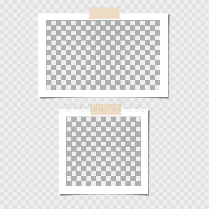 Polaroid, kolekcja fotografii rama Wektorowy szablon dla twój modnego wizerunku lub fotografii royalty ilustracja