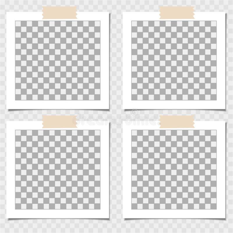 Polaroid, kolekcja fotografii rama z adhezyjną taśmą Wektorowy szablon dla twój modnego wizerunku lub fotografii ilustracja wektor