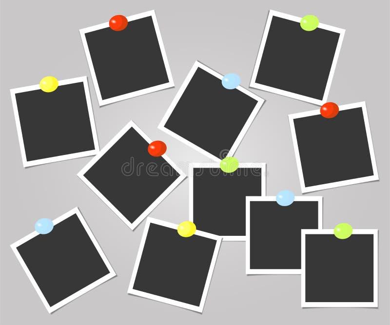 Polaroid kolekcja fotografii rama z kolor szpilkami szablon również zwrócić corel ilustracji wektora ilustracja wektor