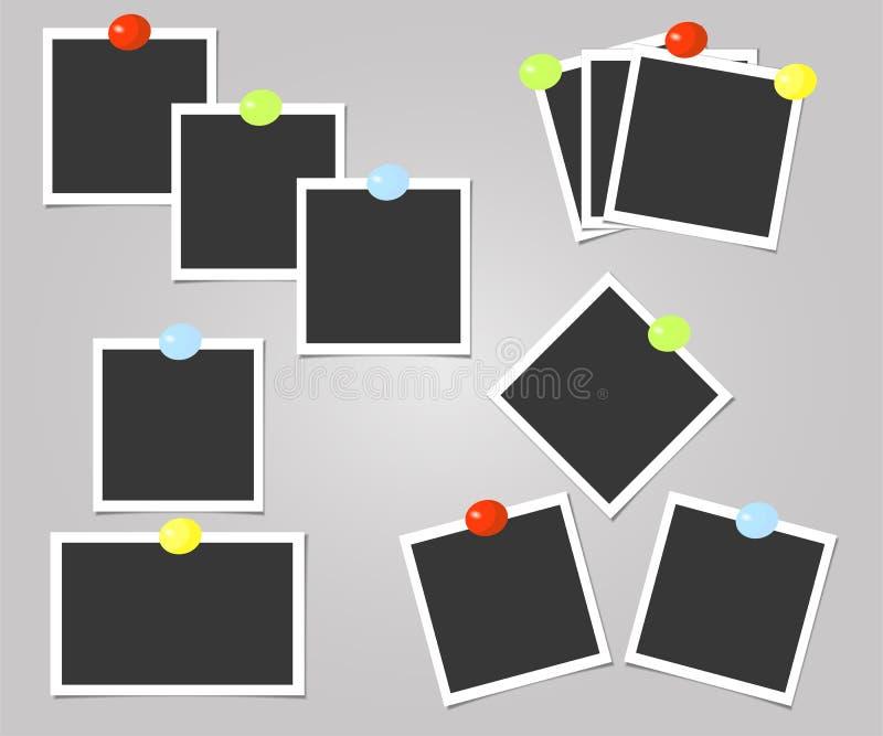 Polaroid kolekcja fotografii rama z kolor szpilkami szablon również zwrócić corel ilustracji wektora ilustracji