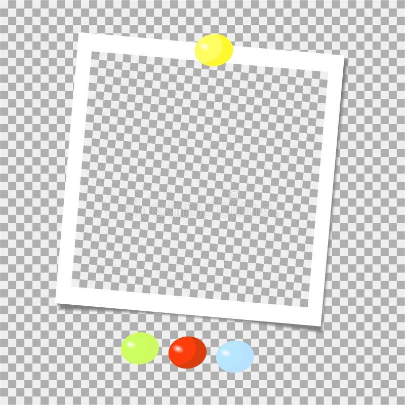 Polaroid kolekcja fotografii rama z kolor szpilkami szablon również zwrócić corel ilustracji wektora royalty ilustracja