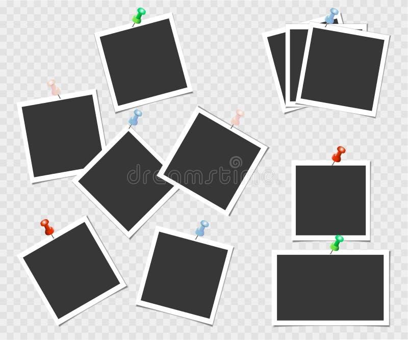 Polaroid, kolekcja fotografii rama z szpilką Wektorowy szablon dla twój modnego wizerunku lub fotografii ilustracja wektor
